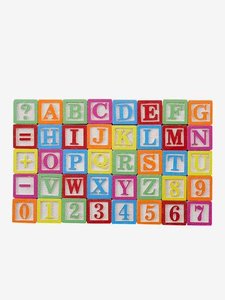40 Multi-Activity Wooden Cubes Muticolour - vertbaudet enfant