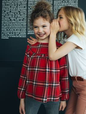 Vertbaudet Collection-Girls-Blouses, Shirts & Tunics-Blouse with Ruffles & Checked Motifs for Girls