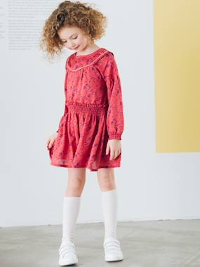 Vertbaudet Collection-Girls-Dresses-Dress with Print & Smocked Waist, for Girls