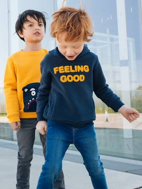 Boys-Cardigans, Jumpers & Sweatshirts-Sweatshirt with Hood & Motif in Bouclé, for Boys