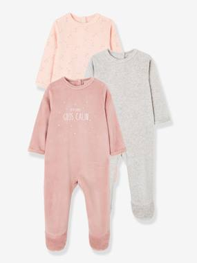 Baby-Pack of 3 Velour Sleepsuits for Babies, with Press-Studs on the Back