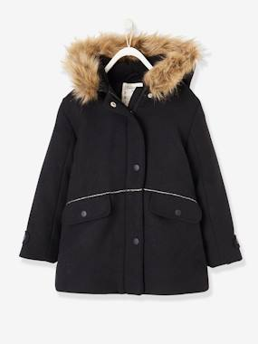 Vertbaudet Collection-Girls-Wool Duffle Coat, for Girls