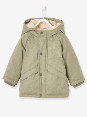 Coat & Jacket-Parka with Hood, Faux Fur Lining, for Babies