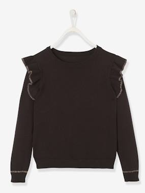 Girls-Cardigans, Jumpers & Sweatshirts-Top with Ruffles, for Girls