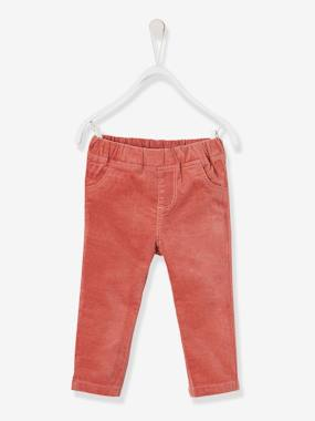 Baby-Trousers & Jeans-Treggings for Baby Girls in Stretch Velour
