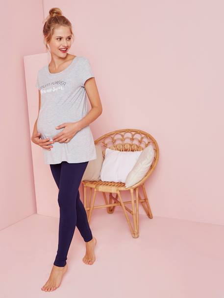 Maternity Loungewear Long T-shirt GREY LIGHT MIXED COLOR - vertbaudet enfant