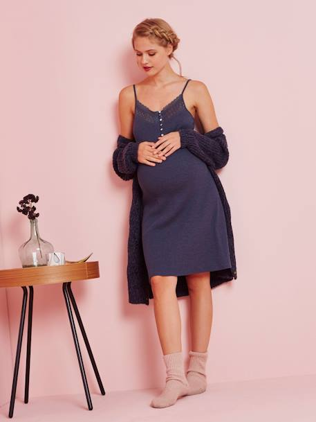 Nightie with Lace Detail, for Maternity & Nursing BLUE DARK SOLID - vertbaudet enfant