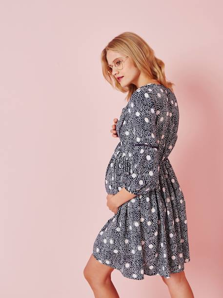 Printed Maternity Dress, 3/4-Sleeves BLUE DARK ALL OVER PRINTED+RED DARK ALL OVER PRINTED - vertbaudet enfant