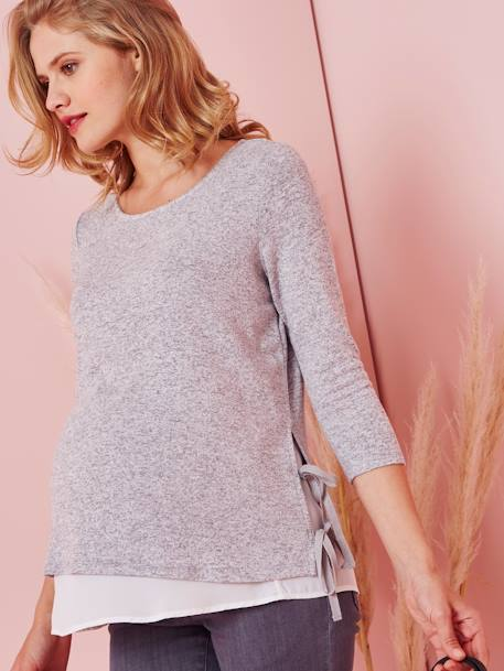 2-in-1 Maternity Top GREY LIGHT MIXED COLOR+PINK MEDIUM SOLID - vertbaudet enfant