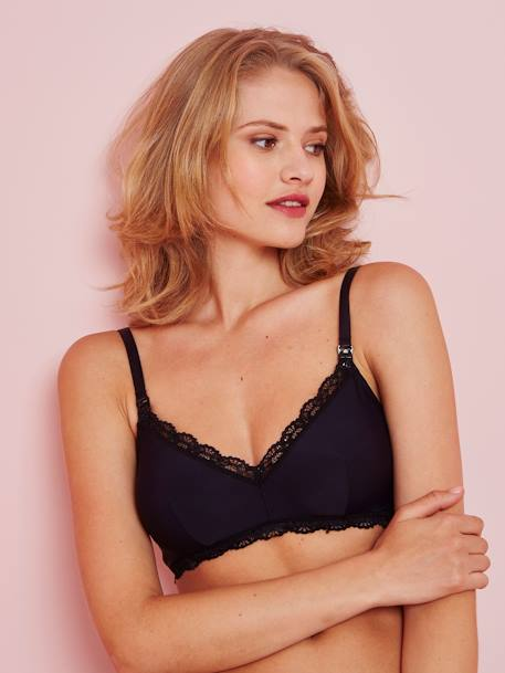 Wireless Nursing Bra BLACK DARK SOLID+BROWN MEDIUM SOLID+PINK MEDIUM SOLID+WHITE LIGHT ALL OVER PRINTED - vertbaudet enfant