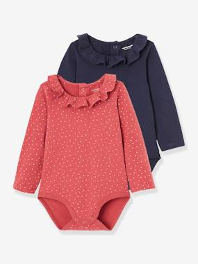 Baby-T-shirts & Roll Neck T-Shirts-T-shirts-Pack of 2 Bodysuits for Babies, Peter Pan Collar, Long Sleeves