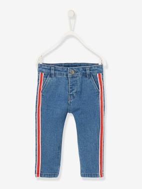 Baby-Trousers & Jeans-Slim Leg Jeans for Baby Boys, Two-Tone Side Stripe