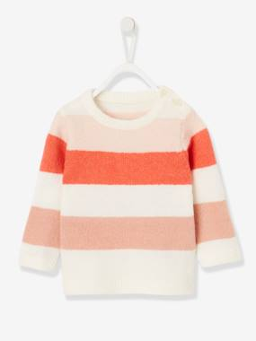 Baby-Jumpers, Cardigans & Sweaters-Striped Knitted Jumper, for Baby Girls