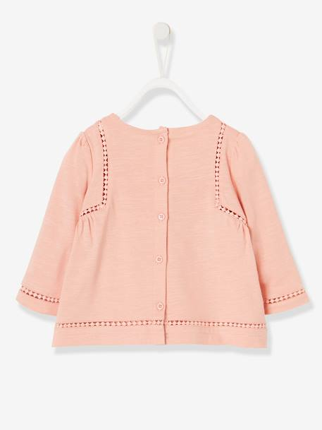 Top with Pompoms, for Baby Girls PINK LIGHT SOLID+WHITE LIGHT SOLID - vertbaudet enfant