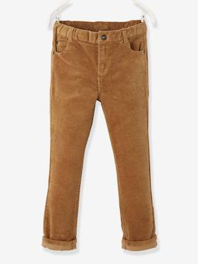 Vertbaudet Collection-Boys-Straight Leg Velour Trousers, for Boys
