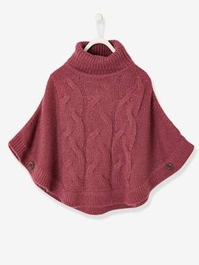 Vertbaudet Collection-Girls-Cardigans, Jumpers & Sweatshirts-Cable Knit Poncho-Jumper, for Girls