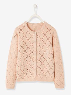 Girls-Cardigans, Jumpers & Sweatshirts-Pointelle Cardigan for Girls