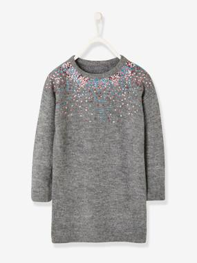 Vertbaudet Collection-Girls-Dresses-Knitted Dress with Sequins