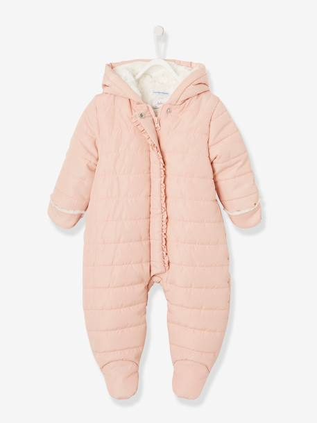 Full-Length Opening Pramsuit, Warm Lining, for Babies BLUE DARK ALL OVER PRINTED+PINK LIGHT ALL OVER PRINTED - vertbaudet enfant