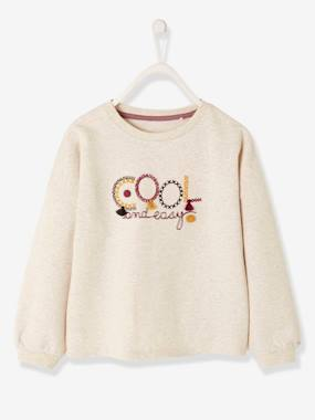 Girls-Cardigans, Jumpers & Sweatshirts-Sweatshirts & Hoodies-Sweatshirt with Inscription, Embroideries & Pompons, for Girls