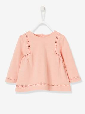 Baby-T-shirts & Roll Neck T-Shirts-T-shirts-Top with Pompoms, for Baby Girls