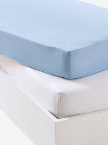 Baby Pack of 2 Fitted Sheets in Stretch Jersey Knit Blue+Grey+Pale pink - vertbaudet enfant
