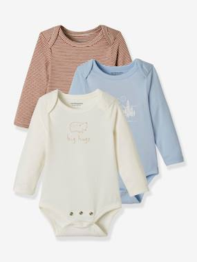 Baby-Bodysuits & Sleepsuits-Pack of 3 Progressive Bodysuits in Stretch Cotton, Long Sleeves