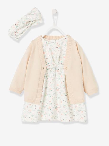 Dress, Cardigan + Headband Ensemble for Baby Girls WHITE LIGHT ALL OVER PRINTED - vertbaudet enfant