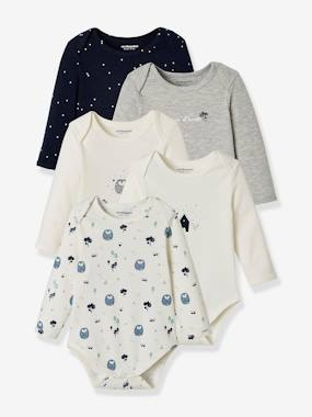 Baby-Bodysuits & Sleepsuits-Pack of 5 Long-Sleeved Bodysuits for Babies, in Pure Cotton