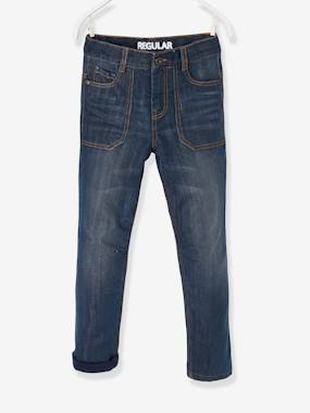 Boys-Jeans-Indestructible Straight Leg Jeans with Lining for Boys
