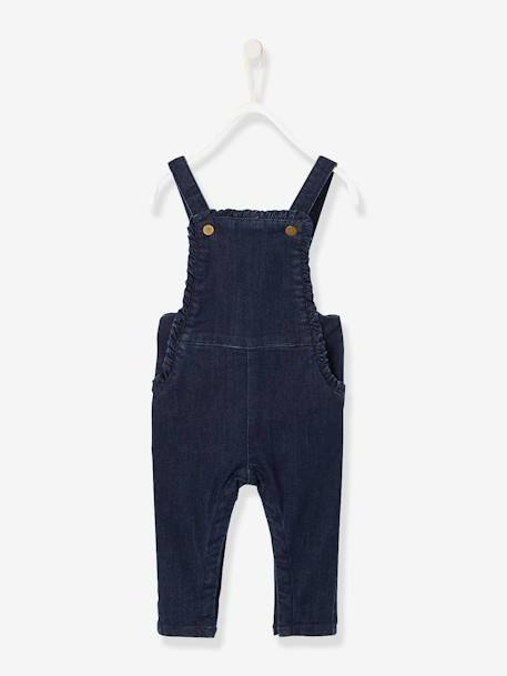 Denim Dungarees for Baby Girls BLUE DARK SOLID - vertbaudet enfant