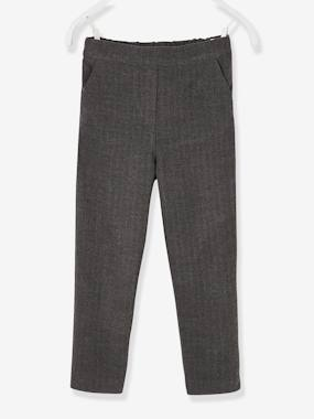 Vertbaudet Collection-Girls-Trousers-Herringbone Trousers, for Girls
