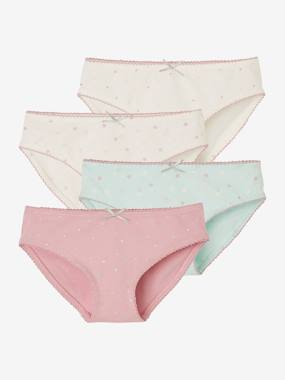 Fille-Sous-vêtement-Culotte-Lot de 4 culottes fille assorties