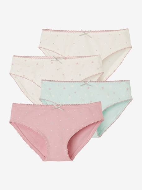 Pack of 4 Assorted Briefs for Girls WHITE LIGHT TWO COLOR/MULTICOL - vertbaudet enfant