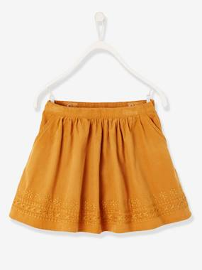 Girls-Skirts-Flared Skirt in Embroidered Corduroy, for Girls
