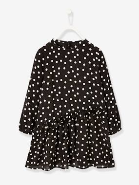 Vertbaudet Collection-Girls-Polka Dot Dress with Asymmetric Frill, for Girls