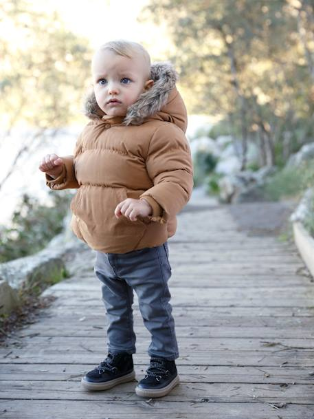 Jacket with Asymmetric Zip, for Baby Boys BLUE DARK SOLID+BROWN LIGHT SOLID - vertbaudet enfant