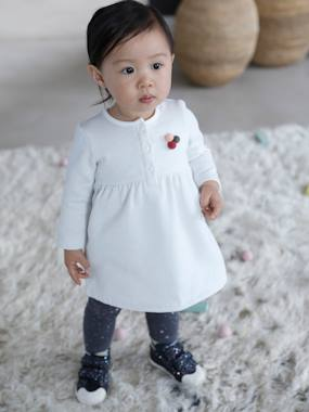 Vertbaudet Collection-Baby-Dresses & Skirts-Fleece Dress & Leggings Ensemble for Baby Girls
