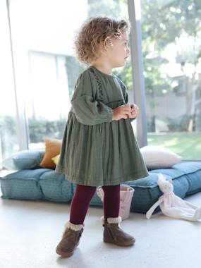 Vertbaudet Collection-Baby-Dresses & Skirts-Embroidered Dress in Cotton Gauze, for Baby Girls
