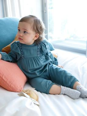 Baby-Dungarees & All-in-ones-Embroidered Jumpsuit with Frills, for Baby Girls