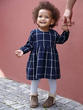 Vertbaudet Collection-Baby-Dresses & Skirts-Check Dress for Baby Girls