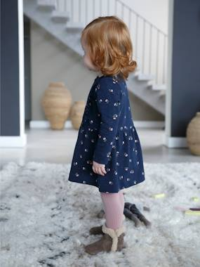 Vertbaudet Collection-Baby-Slub Fleece Dress for Baby Girls