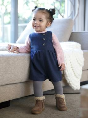 Baby-Dungarees & All-in-ones-Jumpsuit in Woollen Fabric, for Baby Girls