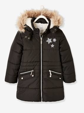 Vertbaudet Collection-Girls-Long Parka, with Hood & Applied Stars, for Girls