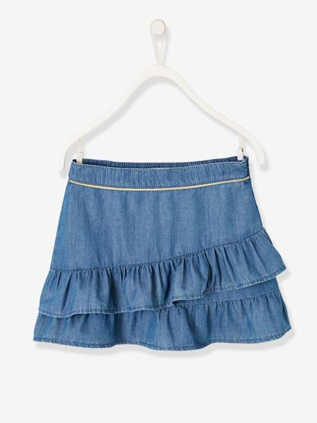 Skirt with Frills, in Light Denim, for Girls BLUE DARK SOLID - vertbaudet enfant