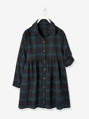 Girls-Dresses-Plaid Shirt Dress, for Girls