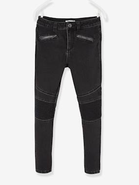 Vertbaudet Collection-Girls-Trousers-Biker-Style Slim Leg Jeans, for Girls