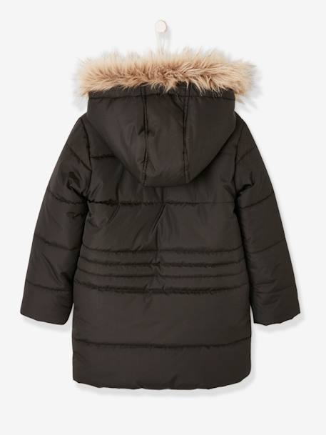 Long Parka, with Hood & Applied Stars, for Girls BLACK DARK SOLID WITH DESIGN+PINK MEDIUM SOLID WITH DESIG+WHITE DARK SOLID WITH DESIGN - vertbaudet enfant
