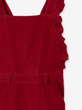 Vertbaudet Collection-Girls-Corduroy Dungarees with Ruffles, for Girls