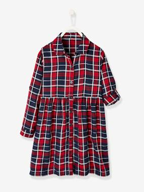 Vertbaudet Collection-Girls-Dresses-Plaid Shirt Dress, for Girls